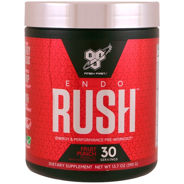 BSN, Endorush, Pre-Workout, Fruit Punch, 13.7 oz (390 g) (Discontinued Item)