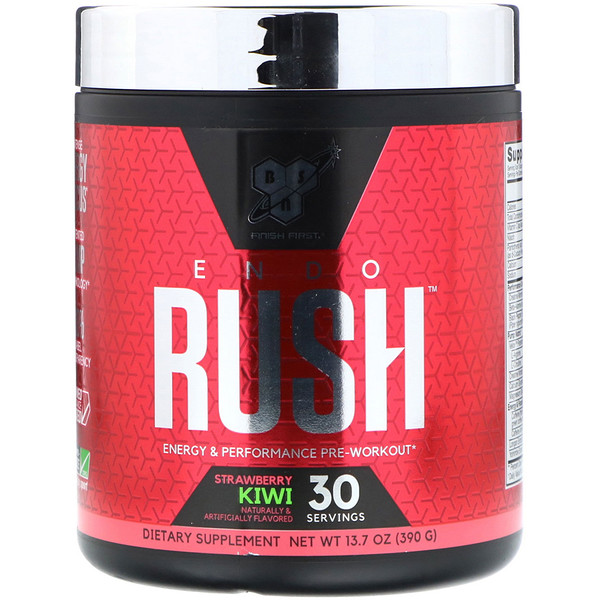 BSN, Endorush, Pre-Workout, Strawberry Kiwi 13.7 oz (390 g) (Discontinued Item)