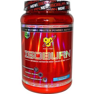 BSN Isoburn, Комплекс изолята сывороточного белка для усиления метаболизма со вкусом ванильного мороженного, 1,32 фунта (600 г)