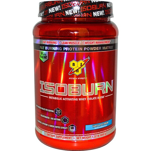 Isoburn, Metabolic Activating Whey Isolate Blend, Vanilla Ice Cream, 1.32 lb (600 g)