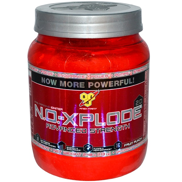 BSN, N.O.-XPlode 2.0, Pre-Training Igniter, Fruit Punch, 2.48 lb (1.13 kg) (Discontinued Item)