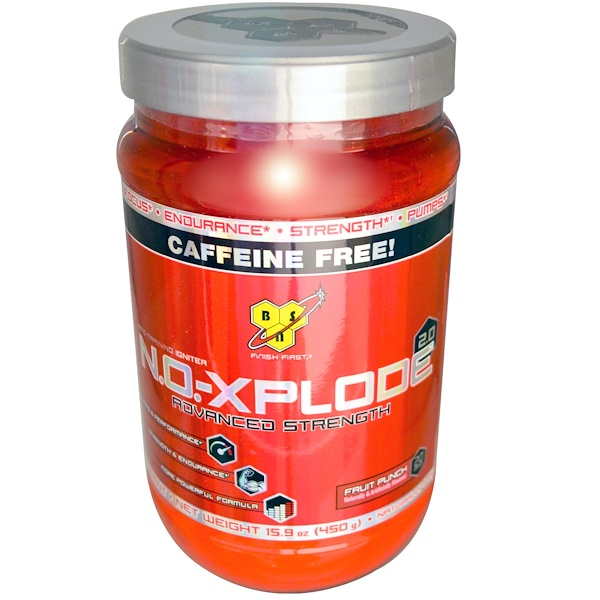 BSN, N.O.-Xplode 2.0, Pre-Training Igniter, Advanced Strength, Fruit Punch, Caffeine Free, 15.9 oz (450 g) (Discontinued Item)