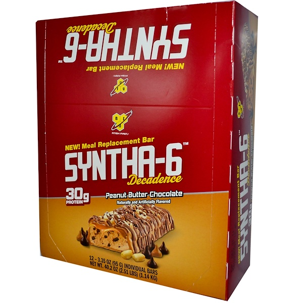 BSN, Syntha-6 Decadence, Meal Replacement Bar, Peanut Butter Chocolate, 12 Bars, 3.35 oz (95 g) Each (Discontinued Item)
