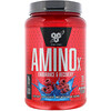BSN, AminoX, формула с аминокислотами с разветвленной цепью, без кофеина, синяя малина, 2,24 фунта (1,01 кг)