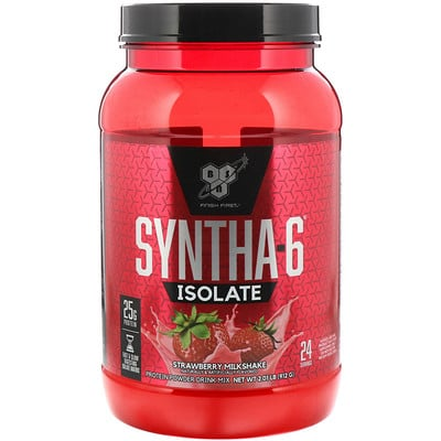 Купить BSN Syntha-6 Isolate, сухая смесь для приготовления протеиновых коктейлей, со вкусом клубники, 912г (2, 01фунтов)