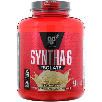 BSN Изолят Syntha-6, порошковая белковая смесь для напитков, ванильное мороженое, 4,02 фунта (1,82 кг)