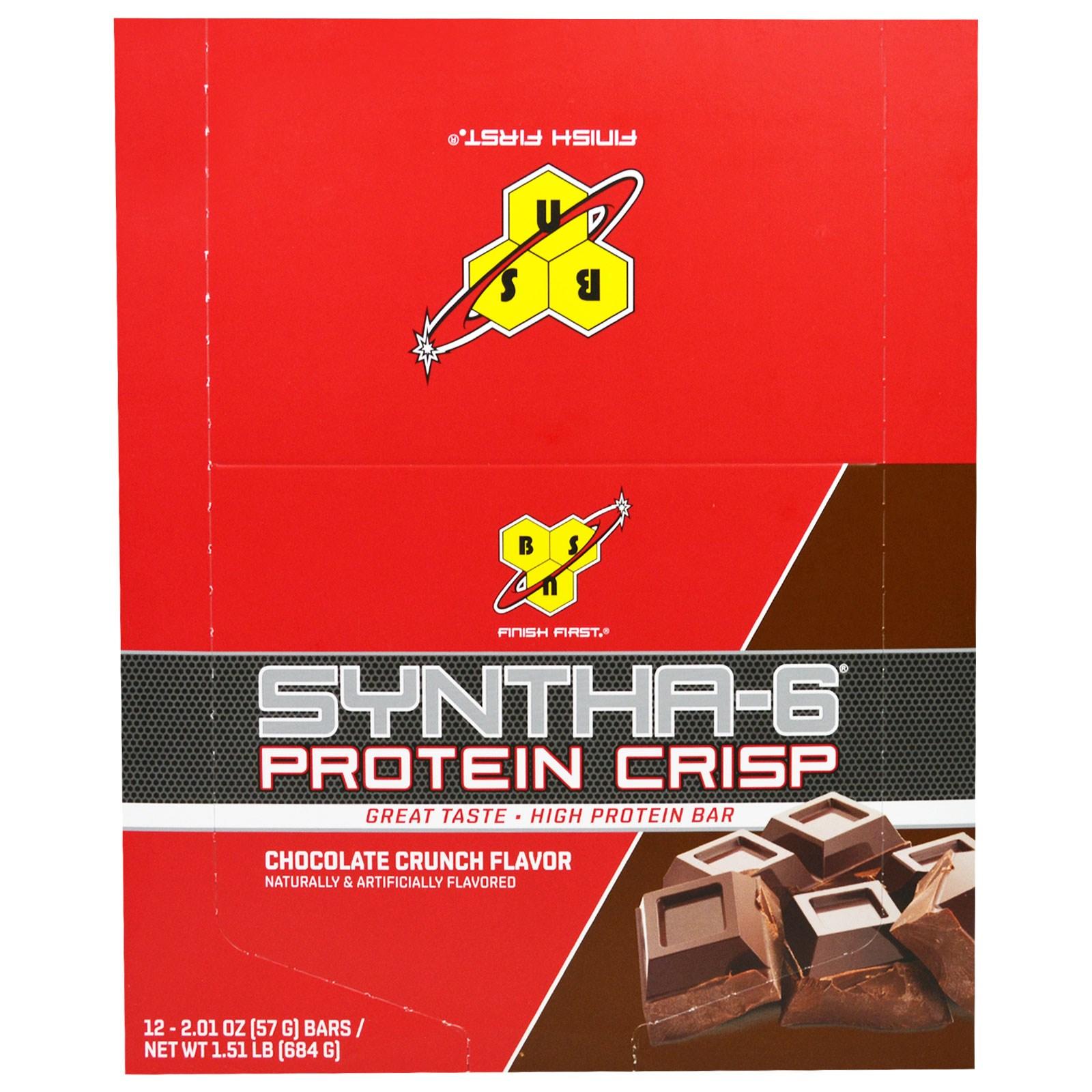 BSN, Syntha-6 Хрустящий  Белок, Вкус Хрустящего Шоколада, 12 батончиков, по 2,01 унции (57 г) каждый
