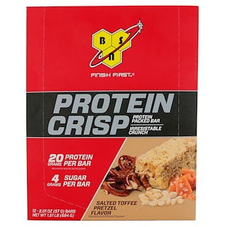 BSN, Protein Crisp, Packed Protein Bar, Salted Toffee Pretzel, 12 Bars, 2.01 oz (57 g)