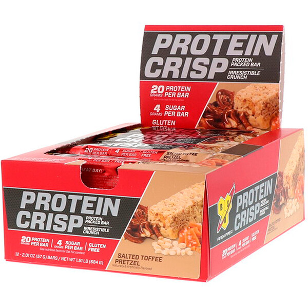 Protein Crisp, Packed Protein Bar, Salted Toffee Pretzel, 12 Bars, 2.01 oz (57 g)