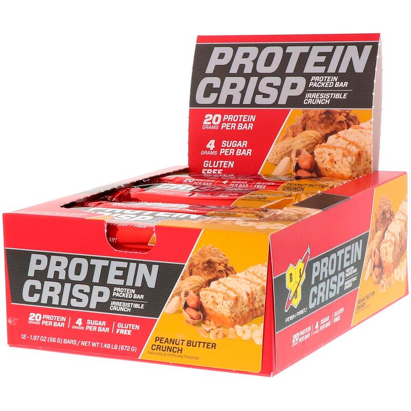 Protein Crisp, Peanut Butter Crunch Flavor, 12 Bars, 1.97 oz (56 g) Each