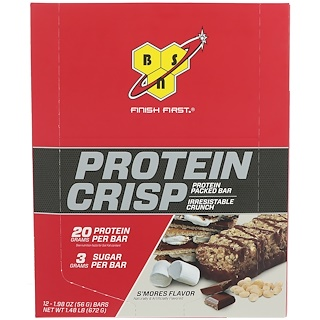 BSN, Protein Crisp, S'mores Flavor, 12 Bars, 1.98 oz (56 g)