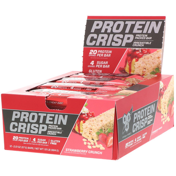 BSN, Protein Crisp, Strawberry Crunch, 12 bars, 2.01 oz (57 g) Each (Discontinued Item)
