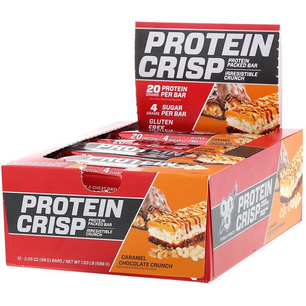 BSN, Protein Crisp, caramel-chocolat crunchy, 12 barres, 58 g (Discontinued Item)