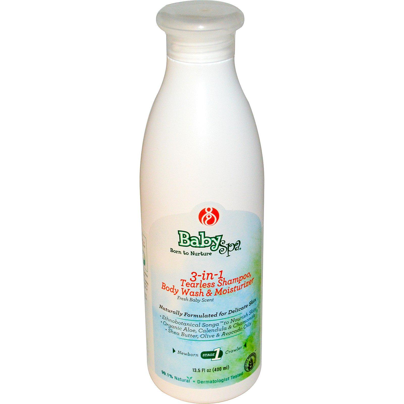 BabySpa, Шампунь без слез 3-в-1, гель для душа и увлажнение, 1-й этап, для новорожденных, свежий аромат, для младенцев, 400 мл (13,5 жидких унций)