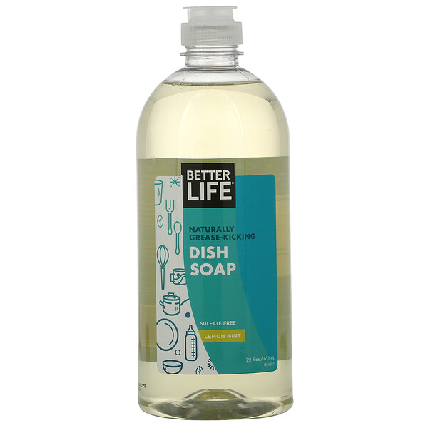 Better Life, Naturally Grease-Kicking Dish Soap, Lemon Mint, 22 fl oz (651 ml)