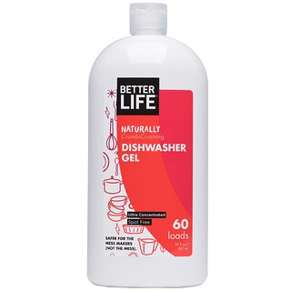 Better Life, Naturally Crumb-Crushing Dishwasher Gel, Fragrance Free, 60 Loads, 30 oz (887 ml)