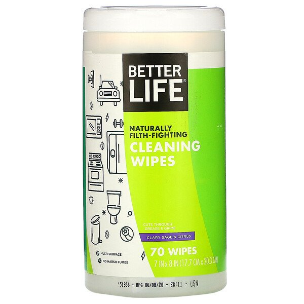 Better Life, Cleaning Wipes, Clary Sage & Citrus, 70 Wipes