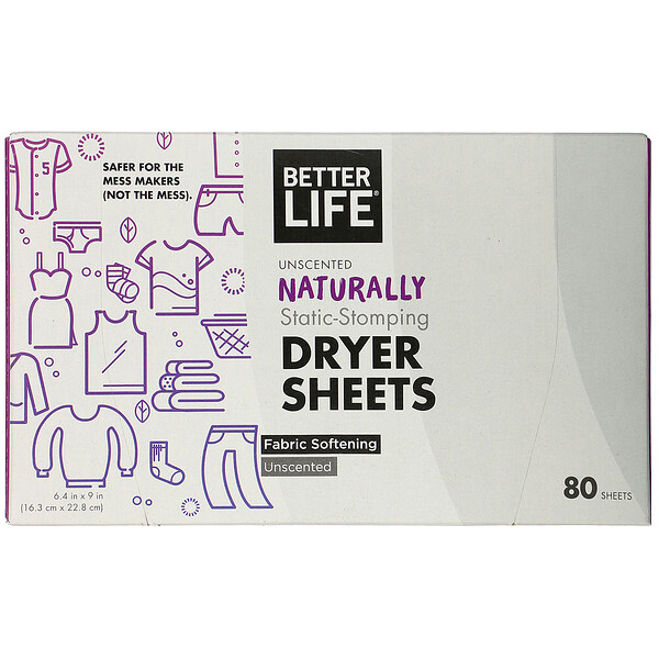 Naturally Static-Stomping Dryer Sheets, Unscented, 80 Sheets