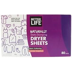 Better Life, صحائف مجفف دوس ساكن طبيعيا، خزامى الجريب فروت، 80 صحيفة