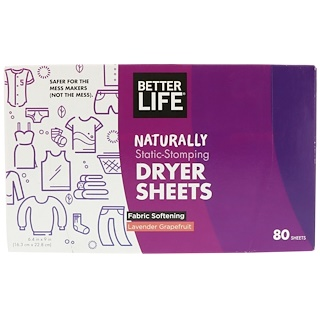 Better Life, Láminas secantes que detienen la estática naturalmente,lavanda y pomelo, 80 láminas