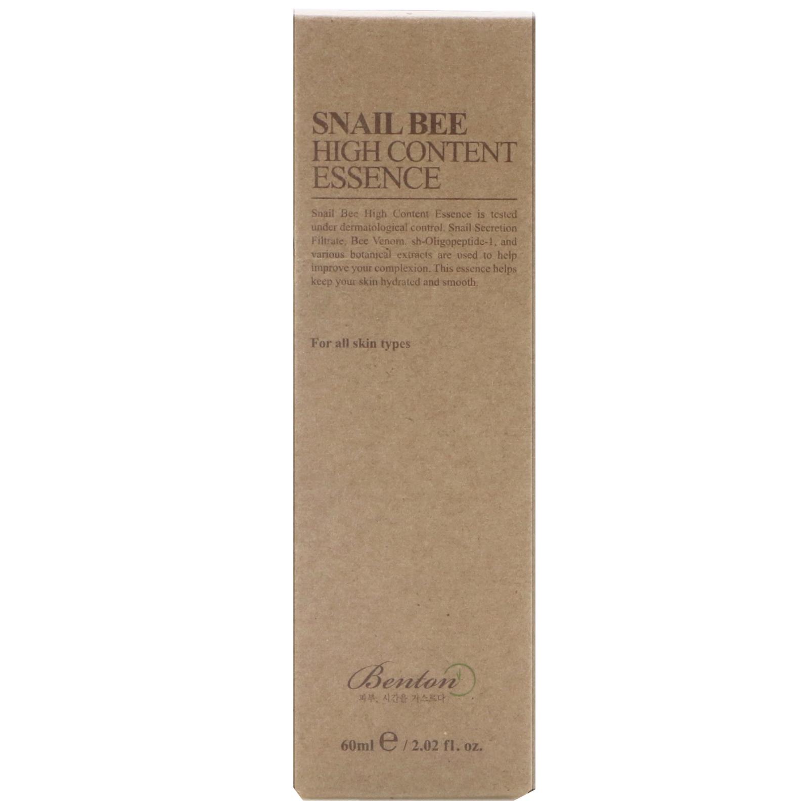 Benton Snail Bee High Content Essence 202 Fl Oz 60 Ml Secretion Filtrate Moisture Facial Cream 30