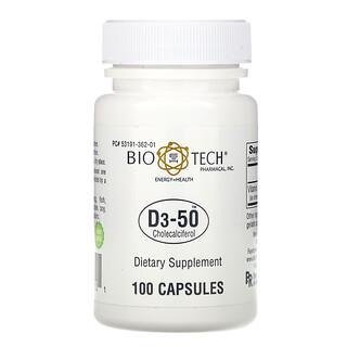 Bio Tech Pharmacal, D3-50, Cholecalciferol, 100 Capsules