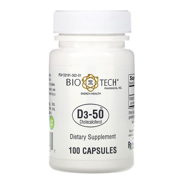 Bio Tech Pharmacal, D3-50، كوليكالسيفيرول، 100 كبسولة