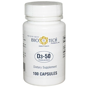 Bio Tech Pharmacal, Inc, D3-50, холекальциферол, 100 капсул