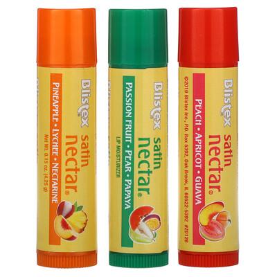 Blistex Satin Nectar Lip Moisturizer, Variety Pack , 3 Pack, 0.15 oz (4.25 g) Each