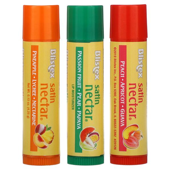 Satin Nectar, увлажняющий бальзам для губ, 3различных вкуса в одной упаковке, по 4,25г (0,15унции)