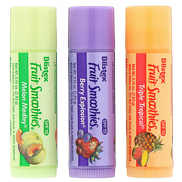Lip Protectant/Sunscreen, SPF 15, Fruit Smoothies, 3 Sticks, .10 oz (2.83 g) Each