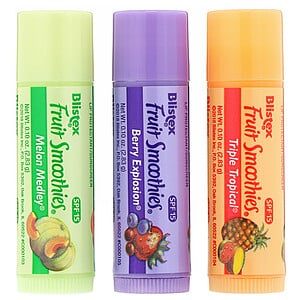 Блистекс, Lip Protectant/Sunscreen, SPF 15, Fruit Smoothies, 3 Sticks, .10 oz (2.83 g) Each отзывы покупателей