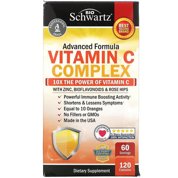 BioSchwartz, комплекс с витаминомС, улучшенная формула с цинком, биофлавоноидами и шиповником, 120капсул