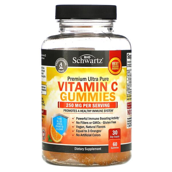 Premium Ultra Pure Vitamin C Gummies, 250 mg, 60 Gummies