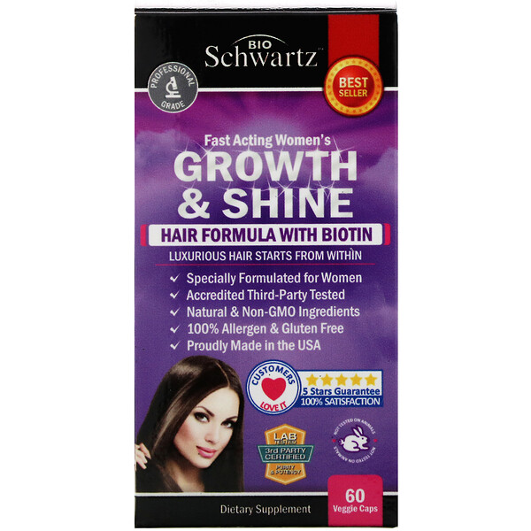Fast Acting Women's Growth & Shine, Hair Formula with Biotin, 60 Veggie Caps