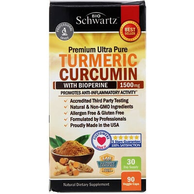 BioSchwartz Premium Ultra Pure Turmeric Curcumin with Bioperine, 1,500 mg, 90 Veggie Caps
