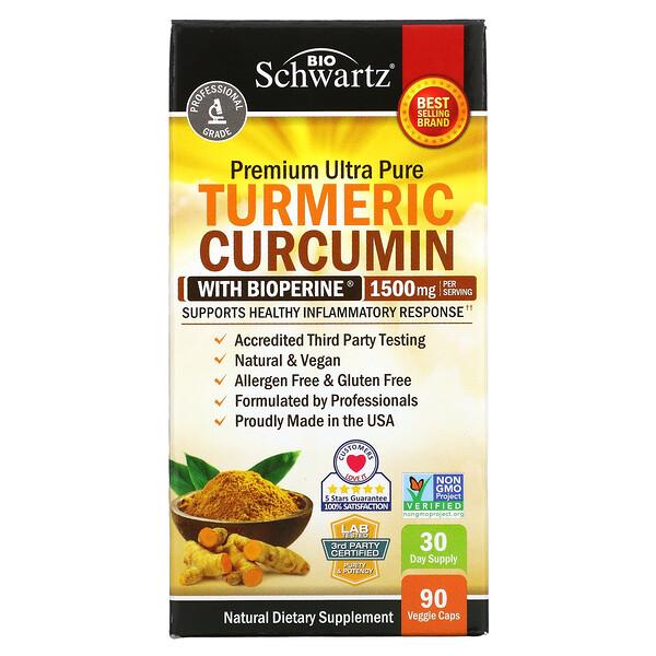 Turmeric Curcumin with Bioperine, Kurkuma mit Bioperine, 500mg, 90pflanzliche Kapseln