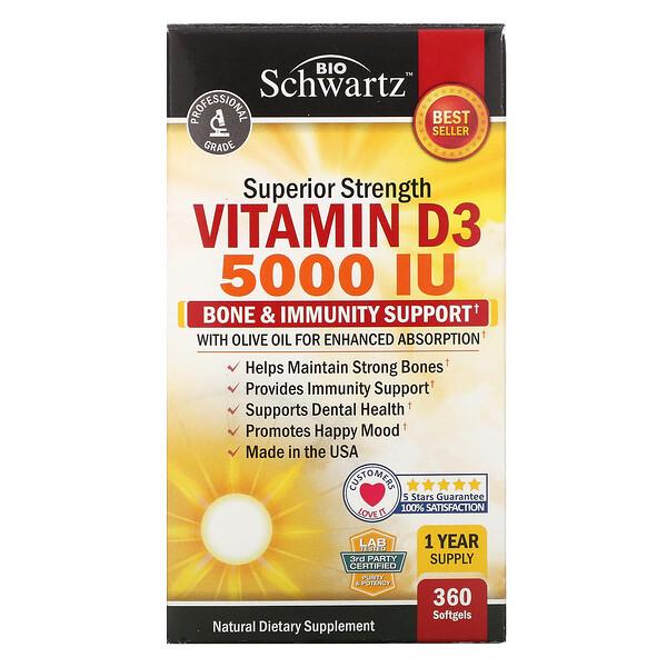 BioSchwartz, VitaminaD3 de acción superior, 5000UI, 360cápsulas blandas