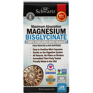 BioSchwartz, Maximum Absorption Magnesium Bisglycinate, 120 Mini-Caps