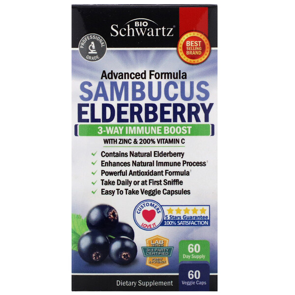 BioSchwartz, Advanced Formula Sambucus Elderberry, 60 Veggie Caps