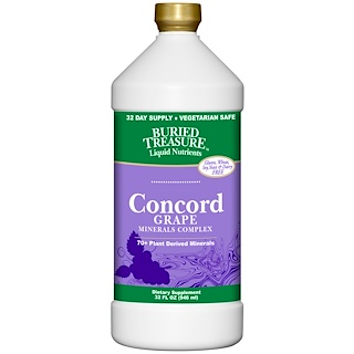Buried Treasure, Liquid Nutrients, 70+ Plant Derived Minerals, Concord Grape, 32 fl oz (946 ml)
