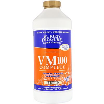 Купить Buried Treasure Жидкие нутриенты, комплекс VM100, со вкусом апельсина, 946 мл (32 жидк. унции)