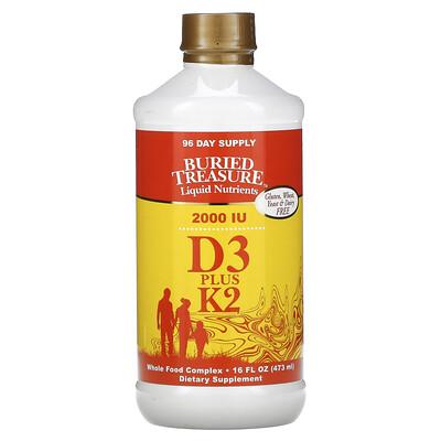 Купить Buried Treasure Жидкий витамин D3, с K2, 16 жидких унций (473 мл)