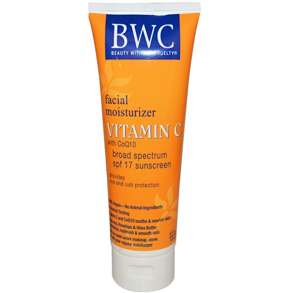 Beauty Without Cruelty, Facial Moisturizer, Vitamin C with CoQ10, SPF 17, 4 fl oz (118 ml) (Discontinued Item)