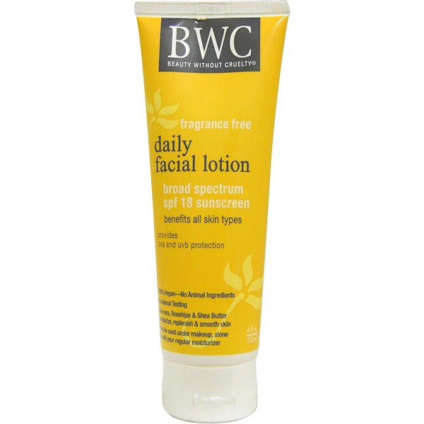 Beauty Without Cruelty, Daily Facial Lotion, SPF 18, Fragrance Free, 4 fl oz, (118 ml) (Discontinued Item)
