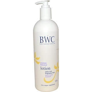 Beauty Without Cruelty, Premium Botanical Lotion, Extra Rich, Fragrance Free, 16 fl oz (473 ml)