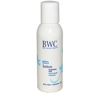 Beauty Without Cruelty, Hand & Body Treatment Lotion, Fragrance Free, 2 fl oz (59 ml)