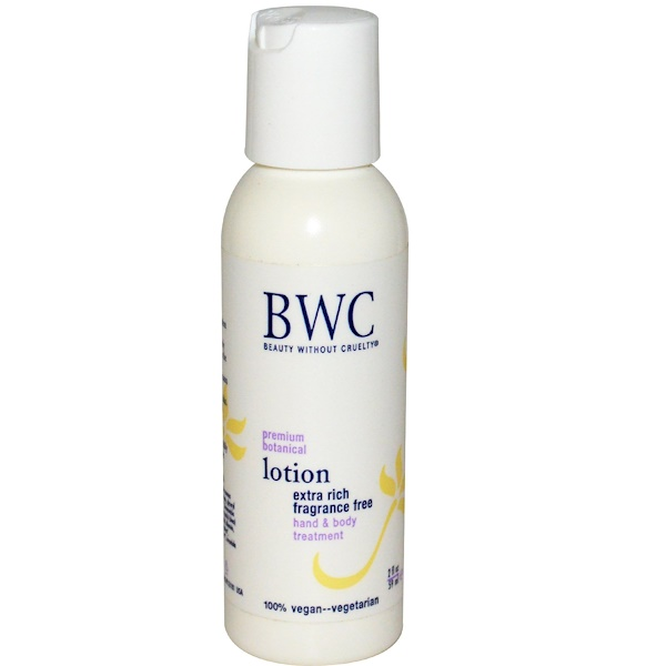 Beauty Without Cruelty, Premium Botanical Lotion, Extra Rich, Fragrance Free, 2 fl oz (59 ml) (Discontinued Item)