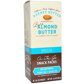 Barney Butter, Bare Almond Butter, On The Go Snack Packs, Smooth, 6 Packets, 0.6 oz (17 g) Each