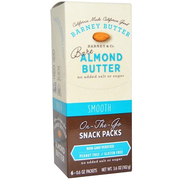 Barney Butter, 生杏仁醬,方便攜帶的零食袋,順滑,6 袋,每袋 0、6 盎司(17 克)